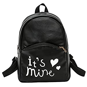 Bizarre Vogue Cute Medium It's Mine Printed Style Backpack College bag for Girls (Black,BV1211)