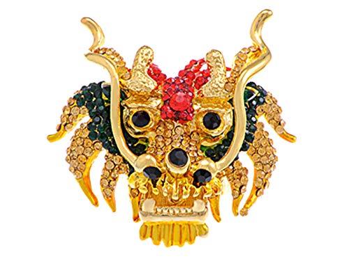 Alilang Multicolor Rhinestone Crystal Lunar New Year Chinese Zodiac Eastern Dragon Lion Head Ring (Dragon Year Zodiac)