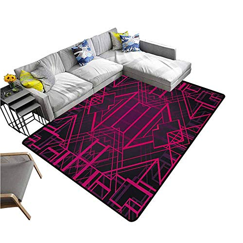 Floor Mat for Toilet Non Slip Indigo,Geometric Modern Design with Lines Triangle Square Details Art Print,Pink Burgundy and Purple 80