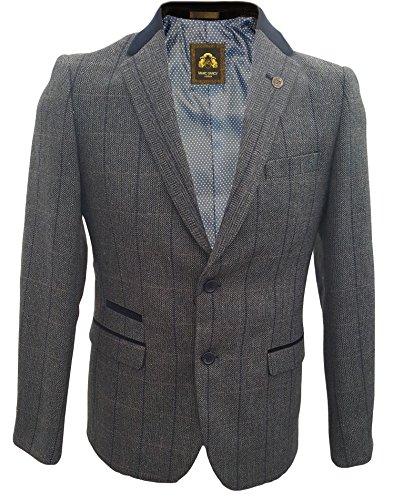 Uomo Marc Darcy Vintage Tweed A Scacchi 2 Piece Giacca & Panciotto - DX7 Carbone