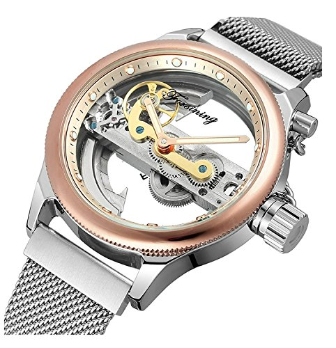 Transparent Gold Watch (Unique Mens Automatic Watch Minimalist Transparent Dial Analogue Display and Silver Tone Mesh band Watch (Rose gold))