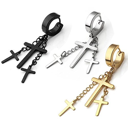 PiercingJ 6pcs Punk Fashion Stainless Steel Hoop Huggie Stud Earrings Cross Dangle Earrings ()