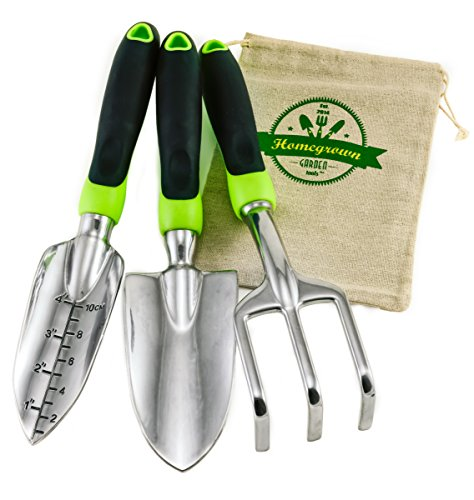 3-Piece Gardening Tool Set from Homegrown Garden Tools; Large Ergonomic Handles; Trowel, Transplanter & Cultivator with Burlap Tote Sack; Best for Lawn & Garden Care; Makes Great Gift