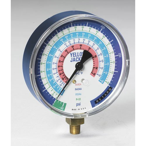 """Yellow Jacket 49185 Gauge, 4"""" degrees F, Red Pressure, 0-800 psi, R-22/134A/404A/410A"""
