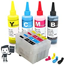 INKUTEN 4 Refillable Cartridges for EPSON T200, T200XL, with 4x100ml USA pigment ink - for XP-200, XP-300, XP-310, XP-400, XP-410 and WorkForce WF-2510, WF-2520, WF-2530, WF-2540