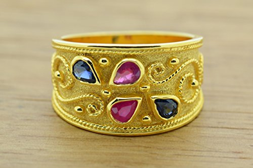 Etruscan Ring Style (Pear Cut Ruby Sapphire Ring Byzantine Style 925 Sterling Silver 22K Gold Plated Greek Handmade Art Ring, Byzantine Rubies Sapphires CZ Ring, 22K Gold Plated Ring, CZ Band Ring, Sterling Silver Ring, Etruscan Style Ring, Byzantine Ring, Greek Jewelry, Luxury Ring, Medieval Ring, Elegant Sterling Silver Ring, Blue Red cubic zirconia Ring)