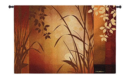 (Flaxen Silhouette by Edward Aparicio - Woven Tapestry Wall Art Hanging for Home Living Room & Office Decor - Nature Subtle Asian Aesthetic Aesthetic Artwork Warm Color Tones - 100% Cotton - USA 36X53)