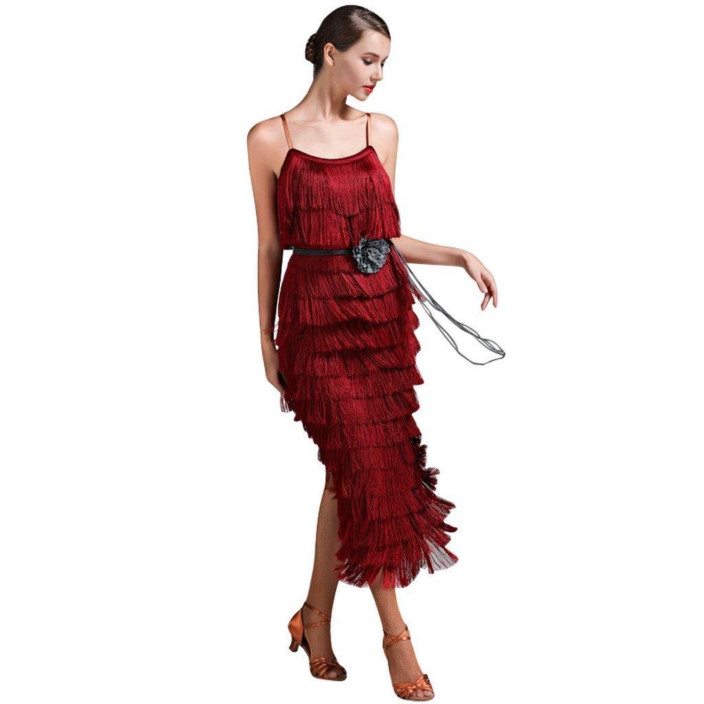 BCL-Kleider ※ Professionelles Latin Dance Performance-Tanzkleid mit Fransen, ärmellose Schlinge-Wettbewerb Damenbekleidung, Performance-Kleidung für Erwachsene B07PFC5CYJ Bekleidung Online-Shop