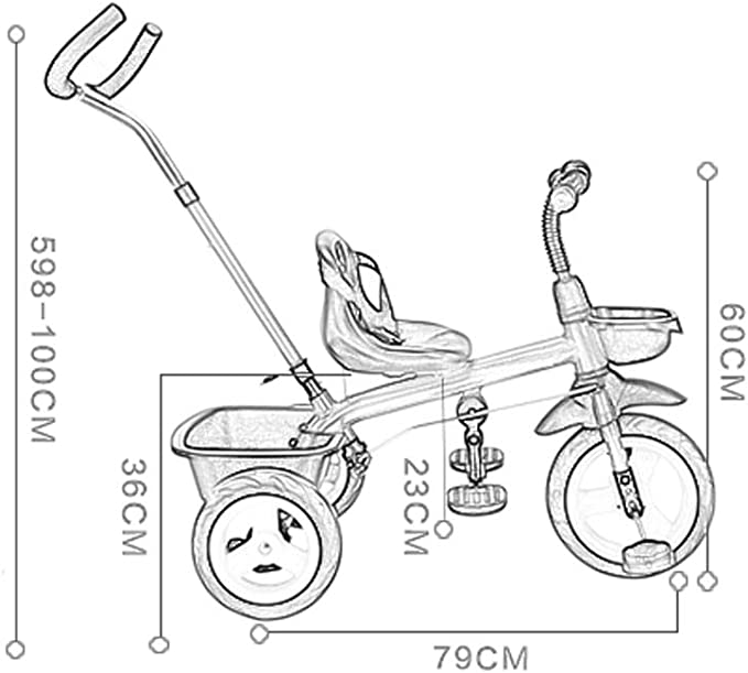 NBgy Triciclo, Bicicleta De Juguete Amarillo con Triciclo De ...