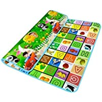 Aarya Enterprise Playmat Waterproof, Anti Skid, Double Sided Baby Crawling Floor Mat with Zip Bag to Carry for Kids Multicolor (Large Size-120x180 cm)