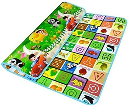 Shreeji Ethnic Kids Waterproof Alphabets and Fruits Learning Educational Play Mat (120x180cm, Green)