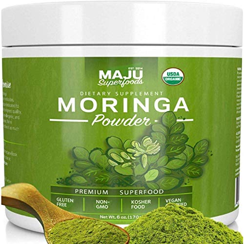 (MAJU's Organic Moringa Powder, Extra-Fine for Tea, Smoothies, Recipes, 100% Raw Moringa Oleifera Leaf Powder (1 Month Supply))