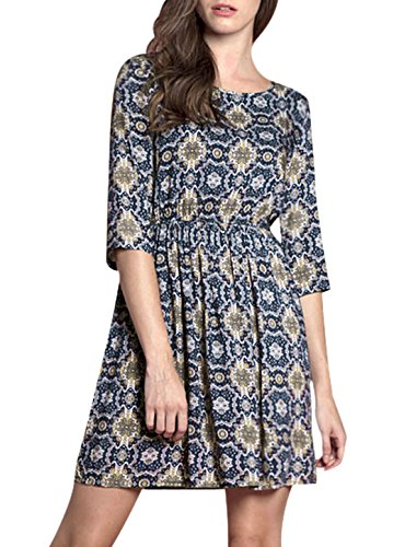 Allegra K Women's Floral Prints 3/4 Sleeves Round Neck Vintage Dress Navy Blue (Cheap Women Dress)