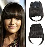 Luxwig Brazilian Human Hair Clip-in Hair Bang Fringe Short Straight Hair Extension for Black Women 6-8inch