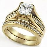 Princess Cut 1 Carat CZ Gold Tone Stainless Steel Wedding Ring Set (10)