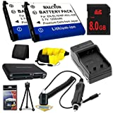 TWO LI-42B Lithium Ion Replacement Batteries w/Charger + 8GB SDHC Memory Card + Memory Card Reader/Wallet + Deluxe Starter Kit and Waterproof Floating Strap for Olympus Stylus Tough TG-310, Tough 3000, Stylus 850, Fuji Finepix XP30 DavisMAX Accessory Bund