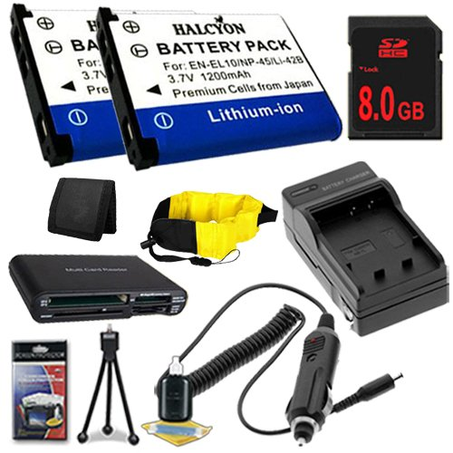 TWO LI-42B Lithium Ion Replacement Batteries w/Charger + 8GB SDHC Memory Card + Memory Card Reader/Wallet + Deluxe Starter Kit and Waterproof Floating Strap for Olympus Stylus Tough TG-310, Tough 3000, Stylus 850, Fuji Finepix XP30 DavisMAX Accessory Bund by DavisMAX