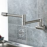 Aquafaucet Wall Mounted Pot Filler Kitchen Faucet With Double Joint Swing Arm Brushed Nickel