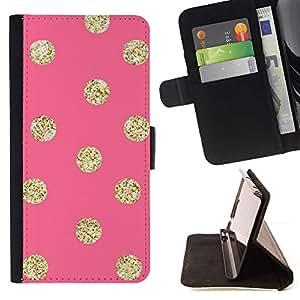 Momo Phone Case / Flip Funda de Cuero Case Cover - Patrón Oro Peach Lunares - Samsung Galaxy S6 Active G890A