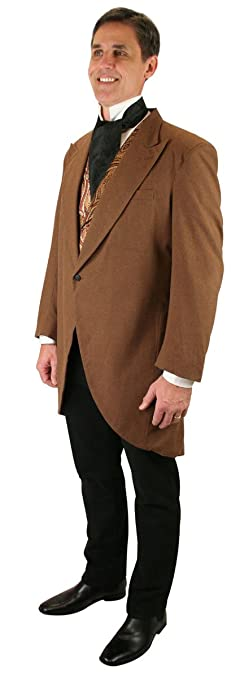 1900s Edwardian Men's Suits and Coats Historical Emporium Mens Victorian Cutaway Morning Coat $179.95 AT vintagedancer.com