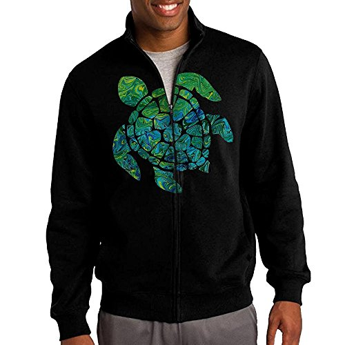 James Martin Dog Costume (Men's Sea Turtle Solid Stand Collar Zipper Jacket Size XXL)