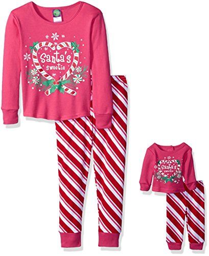 Dollie & Me Big Girls' Candy Cane Striped Santa's Sweetie Snugfit Sleepwear Set, Pink/Red, 12 (18 Inch Doll Clothes Separates)