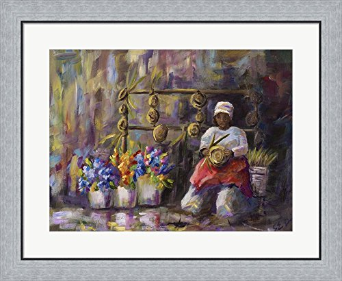 Charleston, SC Basket Lady by Sarah Davis Framed Art Print Wall Picture, Flat Silver Frame, 30 x 24 inches