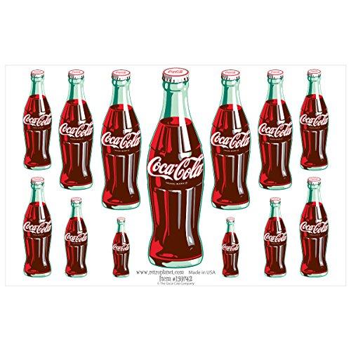 Retro Planet Coca-Cola 13 Green Contour Bottles Vinyl Sticker Sheet 13 Decals