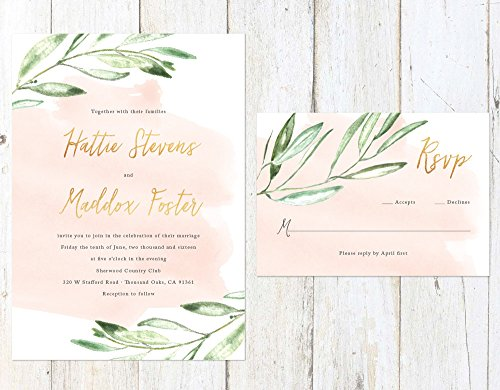 Rustic Watercolor Wedding Invitation, Gold and Watercolor Wedding Invitation, Olive Branch Wedding Invitation by Alexa Nelson Prints