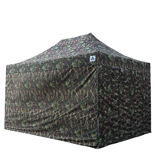 DELTA Canopies 10'x15' Ez Pop Up Canopy Party Tent Instant Gazebos 100% Waterproof Top with 4 Removable Sides Camouflage - E Model ()