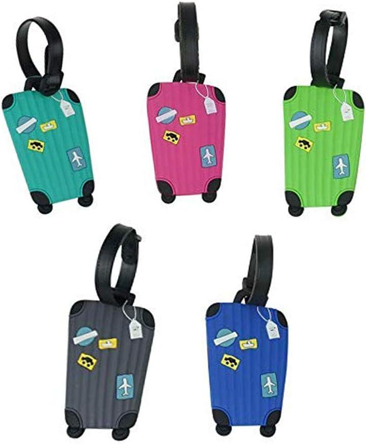 Sprießen 5pcs Equipaje Etiqueta, Silicona Etiquetas de Equipaje de avión Dirección Accesorios de Viaje Bolso Tag Maleta de Viaje ID Name- Identificador Etiqueta (5 Colores)