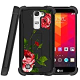 Miniturtle® | LG K7 | LG Tribute 5| LG Treasure case[Shockwave Armor] High Impact Two Layer Case with Kickstand + Tempered Glass- Affectionate Flowers