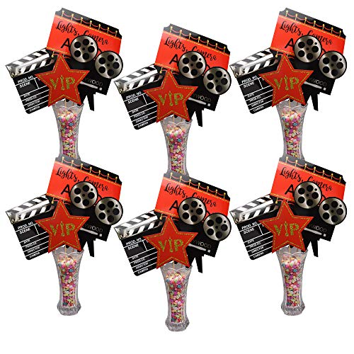 Hollywood Party Centerpieces Movie Night Party Centerpiece Sticks Red Carpet and Gold Award Trophy Design for Table Decoration - 24 Pieces (Set of 6)]()
