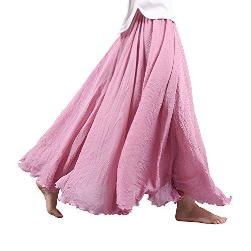 OCHENTA Womens Bohemian Elastic Waist Cotton Floor Length Skirt, Flowing Maxi Big Hem