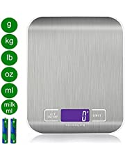 Báscula Digital con Pantalla LCD e Almohadillas Antideslizantes, Acero Inoxidable, para Cocina, 5kg / 11 lbs, Plata (Baterías Incluidas)