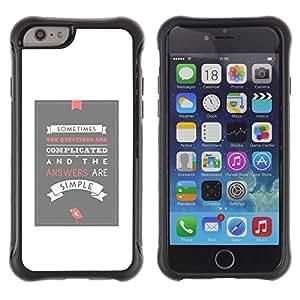 All-Round híbrido Heavy Duty de goma duro caso cubierta protectora Accesorio Generación-II BY RAYDREAMMM - Apple iPhone 6 PLUS 5.5 - White Grey Poster Love Inspiring Modern