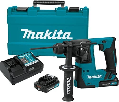Makita RH02R1 2.0Ah 12V max CXT Lithium-Ion Cordless 9 16 Rotary Hammer Kit, accepts SDS-PLUS bits