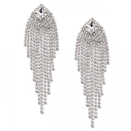 Silver Crystal Rhinestone around a Rhombus Shape Crystal Stone with Cascading Crystal Rhinestone Strands Earrings