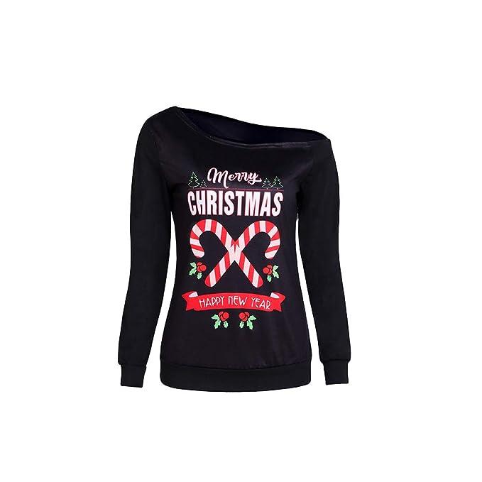 Navidad Un Camiseta Hombro Estampado Feliz Mujeres De Con Letras qqwYXr