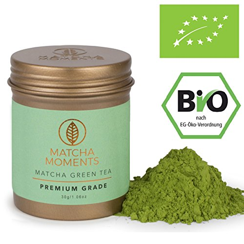 Matcha Moments | Matcha Premium Grade 30g / 1oz (30 portions) | Organic Matcha Green Tea Powder from Japan | Pure or Blended | Single Source Harvest | Farm-to-Cup | Fair & Sustainable