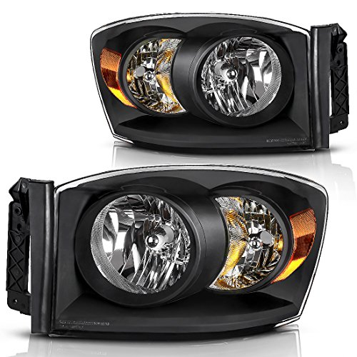 Headlight Assembly for 2006-2008 Dodge Ram 1500 2500 3500 Pickup Replacement Headlamp Driving Light Black Housing Amber Reflector Clear - Plastic Housing Driving Lights