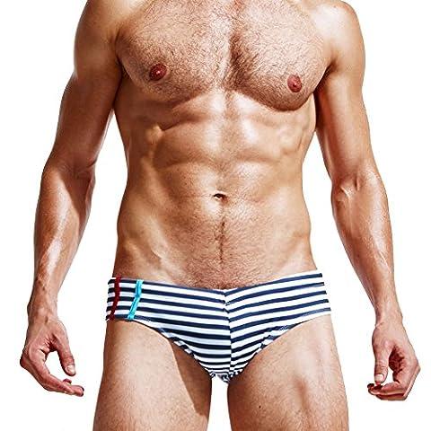 Mendove Men's Beach Lace-Up Boxer Swimming Brief Shorts Size XL US Royalblue Stripes - Lace Up Boxers