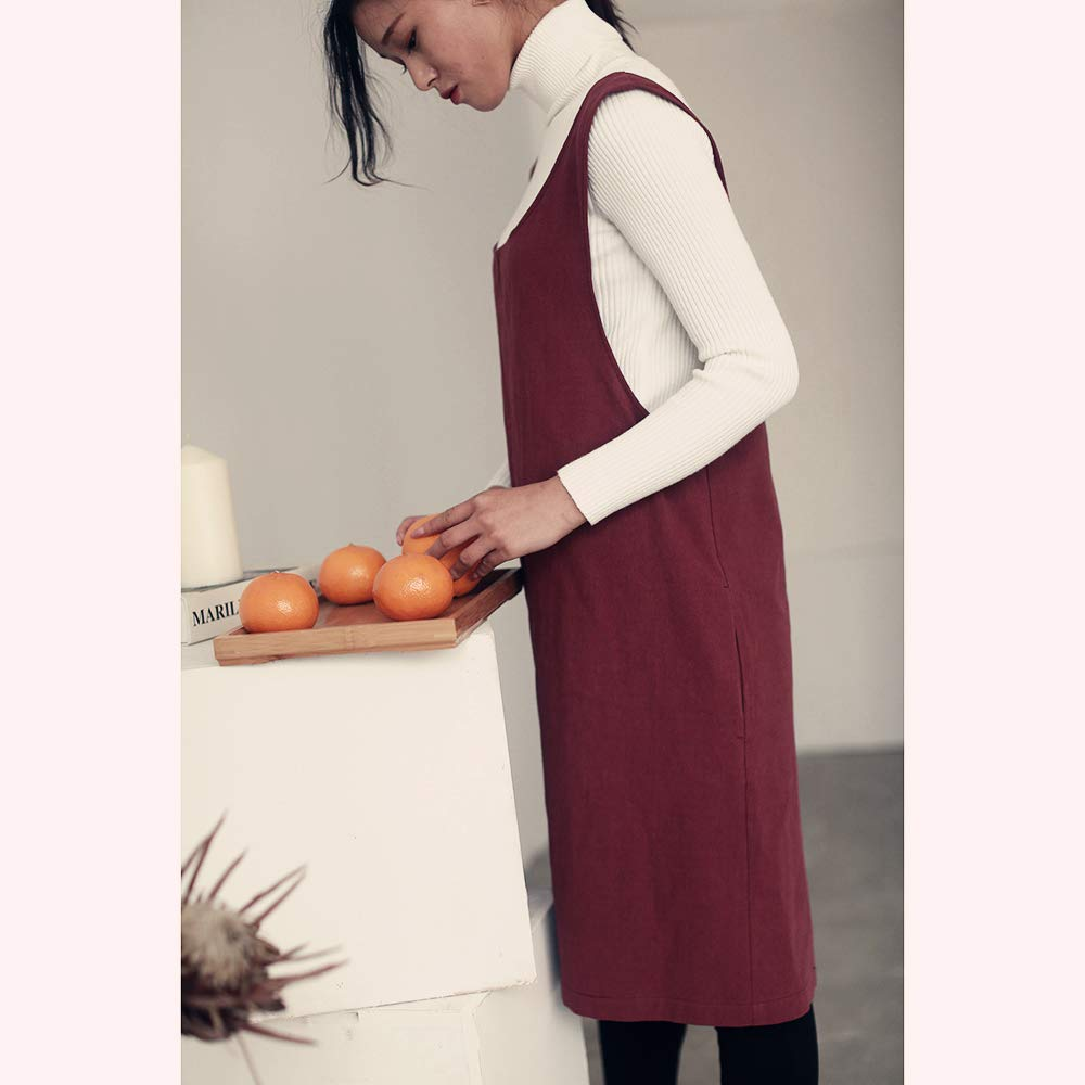 Soft Cotton Linen Apron Solid Color Halter Cross Bandage Aprons Japanese Style X Shape Double Pockets Kitchen Cooking Clothes Gift for Women Chef Housewarming -Beige
