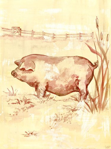 - Oopsy Daisy Toile Piggy Stretched Canvas Wall Art by Heather Gentile-collins, 18 by 24-Inch