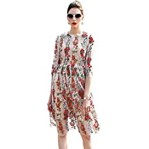 DEZZAL Women's 3/4 Sleeve Sheer Embroidered Floral Cocktail Dress Cami Dress