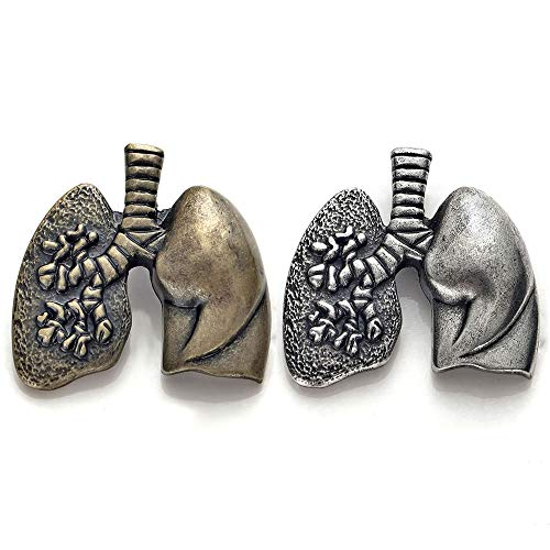 hanreshe Lungs Shape Brooch Pins 2 Pieces Set Medical Jewelry Lapel Pin Antique Gold Silver Gift Brooch Nurse Doctor Graduation Medical Student