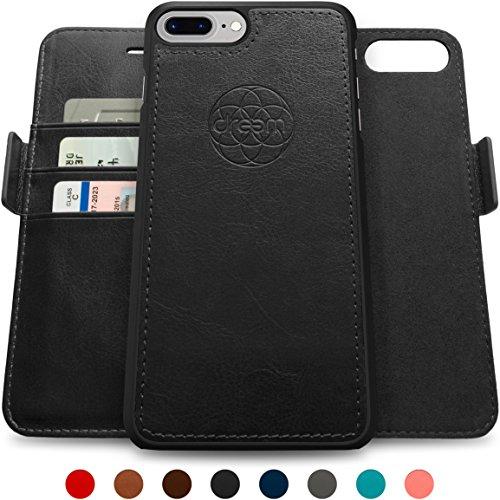 Dreem iPhone 7 & 8 PLUS Wallet Case with Detachable SlimCase, Fibonacci Luxury Series, Vegan Leather, RFID Protection, H/V Stands, Gift Box - Black