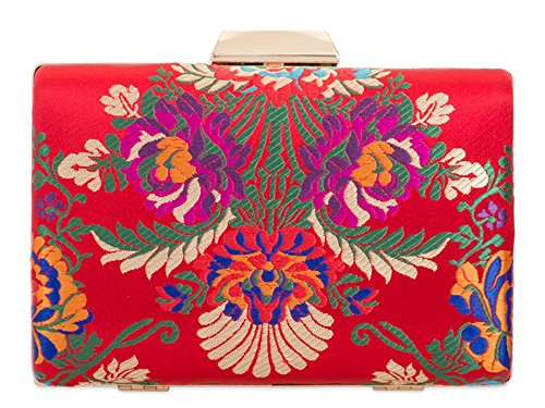 Floral Compact Red Bag Embroidery Clutch Ladies Prom Hard Bridal Satin E5qCTzgwx