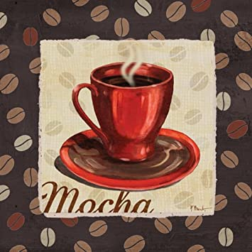 Cup of Joe Vintage Coffee Art Print Posters by Paul Brent, 12 x 12, Set of 4 Stretched canvases Ready to hang