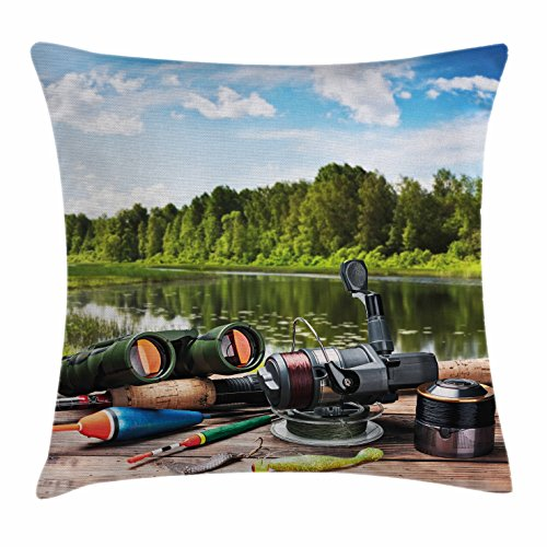 Ambesonne Hunting Throw Pillow Cushion Cover, Fishing Tackle on a Pontoon Lake in The Woods Trees and Greenery Freshwater Hobby, Decorative Square Accent Pillow Case, 36 X 36 Inches, Multicolor - Pontoon Furniture Lounge Seat